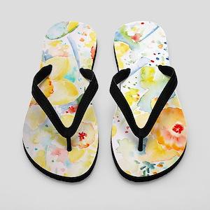 Watercolor Daffodils Pattern Flip Flops