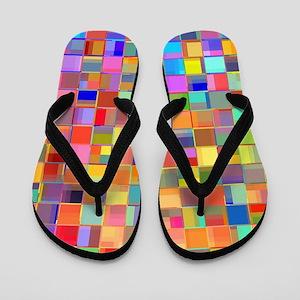 Color Mosaic Flip Flops