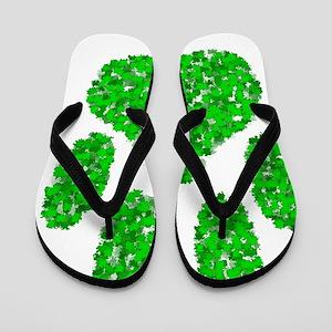 Green Foliage Dog Paw Print Flip Flops