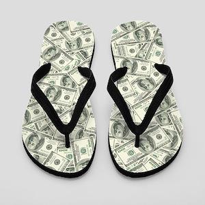100 Dollar Bill Pattern Flip Flops