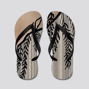 Pinstripes, Willow, and Clouds Flip Flops