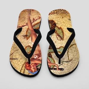 nautical  beach girl Flip Flops