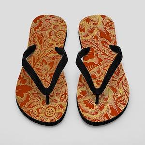 William Morris Poppy Design Flip Flops