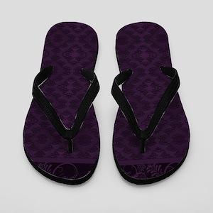 Royal Purple Damask Flip Flops