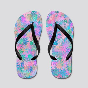Pink Abstract Leaf Pattern Flip Flops