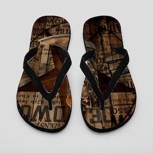 western cowboy Flip Flops
