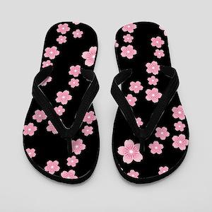 Cherry Blossoms Black Pattern Flip Flops