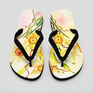 Watercolor Daffodils Yellow Spring Flow Flip Flops