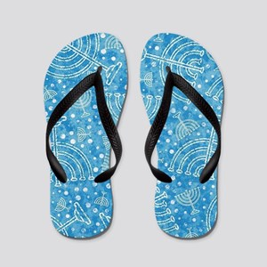 Hanukkah Menorah Pattern Flip Flops