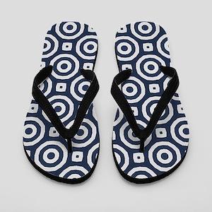blue Geometric pattern Flip Flops