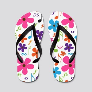 Music Flowered Design Flip Flops