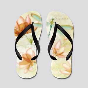 Pink flowers and dragonfly Flip Flops