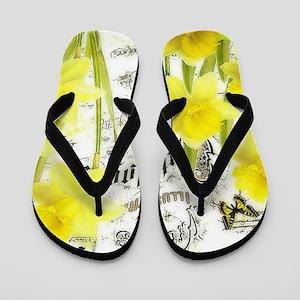 Vintage daffodils Flip Flops