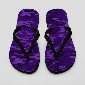 Dark Purple Camouflage Flip Flops