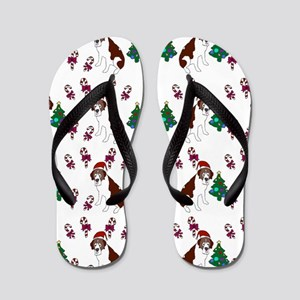Christmas Saint Bernard dog Flip Flops