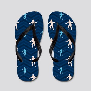 Blue and Tan Chevron Fencing Flip Flops