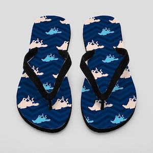 Blue and Tan Chevron Horse Racing Flip Flops