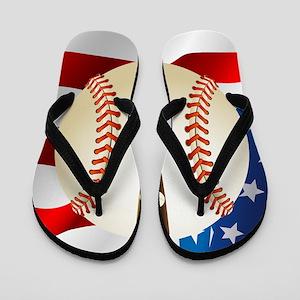 Baseball Ball On American Flag Flip Flops