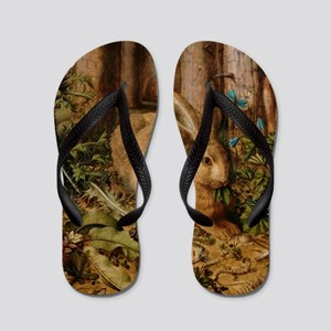 Hare In The Forest Flip Flops