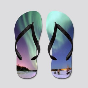 Northern Lights of Alaska Photograph Flip Flops