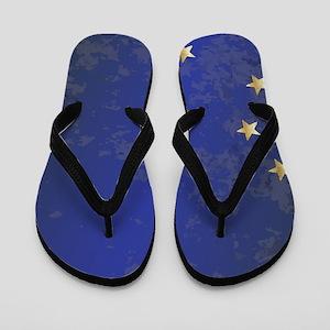 Flag of Alaska Grunge Flip Flops