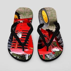 Old red tractor Flip Flops
