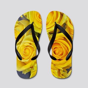 Beautiful yellow roses Flip Flops