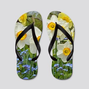 White and yellow daffodils Flip Flops