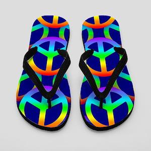 Rainbow Peace Sign Pattern Flip Flops