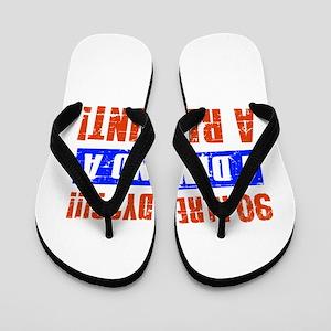 90th birthday design Flip Flops