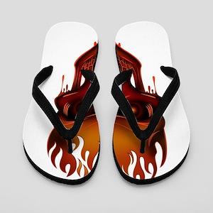 Flame Skull Flip Flops