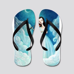 Girl with Moon and Violin Flip Flops