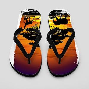 Wild Animals on African Savannah Sunset Flip Flops