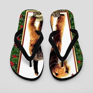 Airedale Terrier Dog Christmas Flip Flops