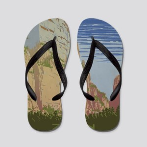 Zion National Park Vintage Poster Flip Flops