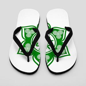 Triple Goddess Lotus Love Green Flip Flops