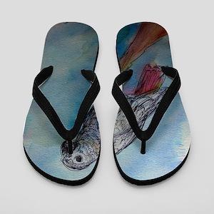 African Grey, parrot, art, Flip Flops