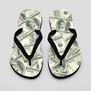 100 Dollar Bill Money Pattern Flip Flops