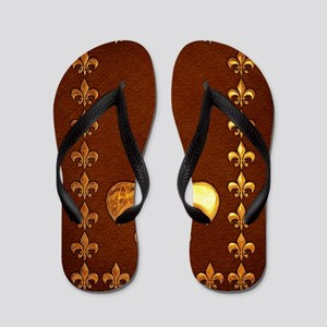 Old Leather with gold Fleur-de-Lys Flip Flops