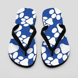 Dog Paws Royal Blue Flip Flops