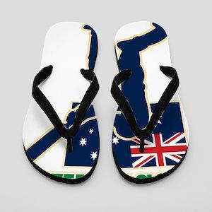 cricket sports batsman  Australia flag Flip Flops