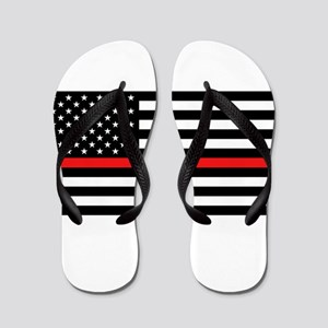 Firefighter: Black Flag & Red Line Flip Flops