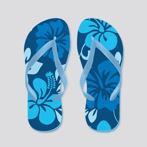 Shades of blue Hawaiian hibiscus Flip Flops