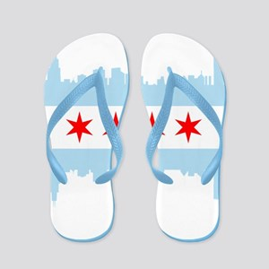 Chicago Flag Skyline Flip Flops