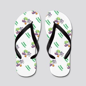 Cute Happy Camper Mouse Pattern Flip Flops