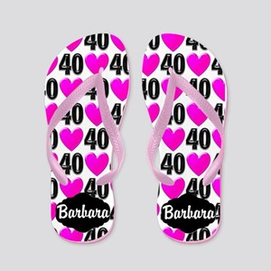 40th Pink Hearts Flip Flops