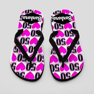 50th Pink Love Flip Flops