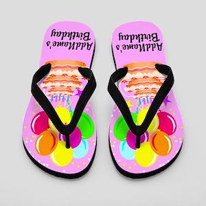 Pink Birthday Flip Flops
