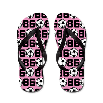 8bf976241c02e4 Soccer Ball Player Number 86 Flip Flops   Custom Soccer Player Number Flip  Flops   Milestones Soccer T-shirts and Gifts