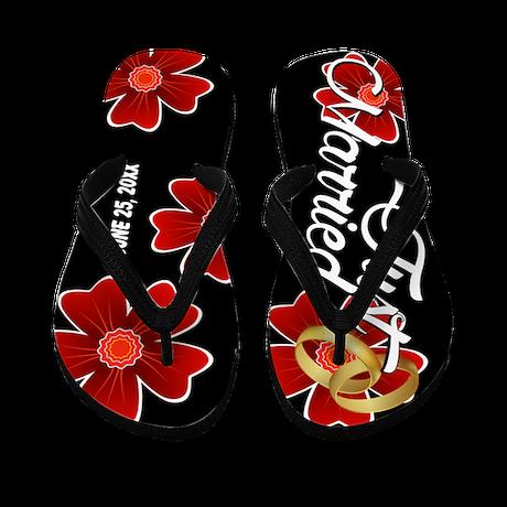 Just Married Floral Custom Flip Flops